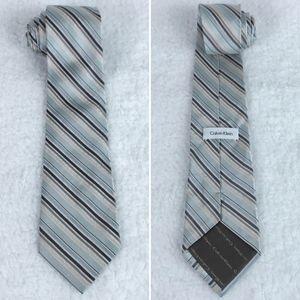 Calvin Klein | Blue Silver Repp Striped Silk Tie